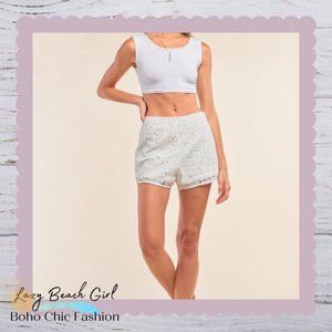 Boho Crochet High Waist Mini Shorts